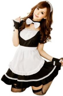 Cool2day Girls Super Cute Bow Style Maid Dress Cosplay Costume Co010063 (Womens XS S/Girls 10 16, Black): Clothing