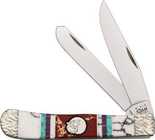 Brian Yellowhorse Knives 172 Custom Case Trapper Pocket Knife with White Turquoise, Green, Turquoise, Red Bloody Jasper, and Purple Spiny Oyster Handles: Sports & Outdoors