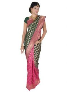 Vivid Pink and Gorgeous Green Half and Half Georgette Silk Banarasi Saree: Clothing