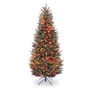7.5 ft. Natural Fraser Slim Fir Hinged Pre Lit Christmas Tree   Multi Colored   Christmas Trees