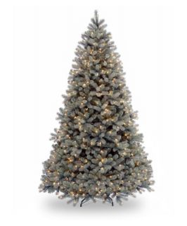 7.5 ft. Feel Real Down Swept Douglas Blue Fir Hinged Pre Lit Christmas Tree   Christmas Trees