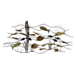 Swimming Metallic Fish Wall Decor   50W x 23H in.   Wall Sculptures and Panels