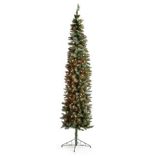 Classic Pine Slim Pre lit Christmas Tree with Berries and Pine Cones   7.5 ft.   Clear   Christmas