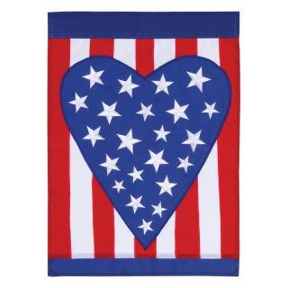 Toland 28 x 40 in. Patriotic Heart Applique Garden Flag   Flags