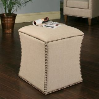 Abbyson Living Berly Nailhead Trim Ottoman   Cream   Ottomans