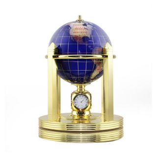 Blue Gemstone 5.9 in. diam. Clock Stand Desktop Globe   Gemstone Globes