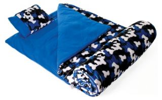 Wildkin Camo Blue Plush Sleeping Bag   Kids Sleeping Bags