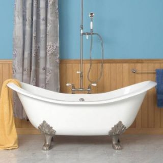 Sunrise Elegance 60 in. Double Slipper Cast Iron Clawfoot Tub with Lions Paw Feet   Clawfoot Tubs