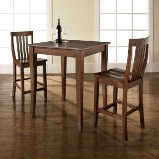 Crosley 3 Piece Pub Set with Cabriole Leg and School House Stools   Indoor Bistro Sets