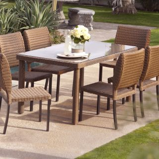 Coral Coast Maya All Weather Wicker Patio Dining Table   Patio Tables