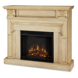 Real Flame Kristine Indoor Electric Fireplace   Antique White   Electric Fireplaces