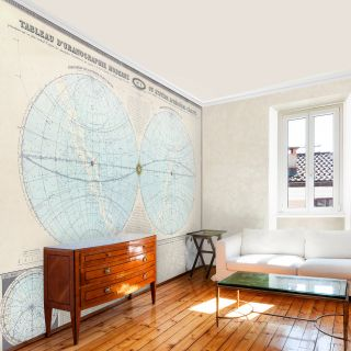 Double Hemisphere 1864 Map Wallpaper   Wallpaper