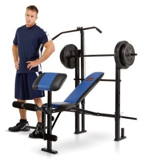Marcy Classic Weight Bench with Lat and Arm Curl PLUS 120 lb. Weight Set   Home Gyms
