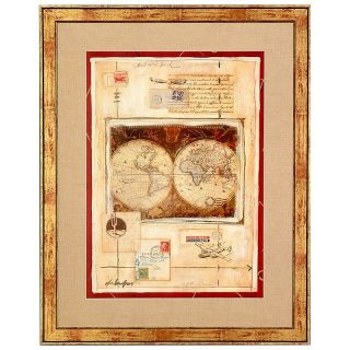 Hitchcock Butterfield Airmail II Framed Map   Burgundy and Gold   Wall Maps