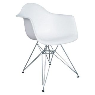 Wire Leg Dining Arm Chair with White Molded Plastic Seat   Dining Chairs