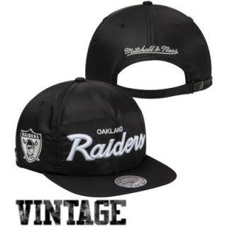 6136d8bfd69 ... Mitchell   Ness Oakland Raiders Special Script Nylon Zipback Hat Black  ...