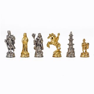 WE Games Pewter Medieval Chessmen   2.74 in. King   Chess Pieces