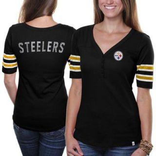 47 Brand Pittsburgh Steelers Ladies Playoff T shirt   Black