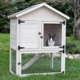 Boomer & George Cottage Rabbit Hutch   White Wash   Rabbit Hutches