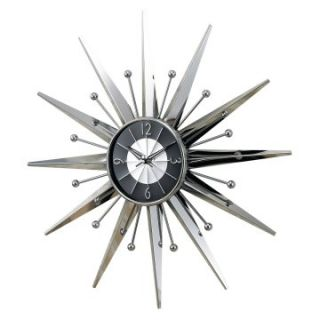 George Nelson Silver Sunburst Wall Clock   Control Brand MCM   Wall Clocks