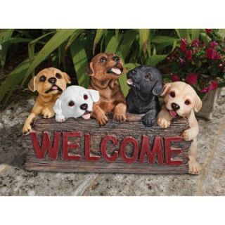 The Puppy Parade Welcome Sign   Garden Statues