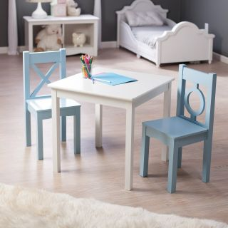 Lipper Hugs and Kisses Table and 2 Chair Set   White & Blue   Activity Tables