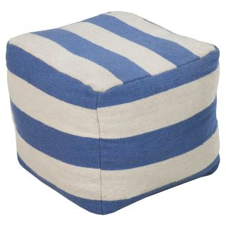 Surya 18 in. Striped Cube Wool Pouf   Ottomans