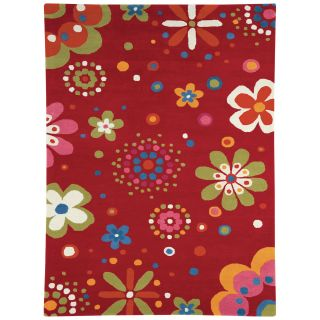 Dynamic Rugs Fantasia Flower Power 1705 Kids Area Rug   Bright Red   Area Rugs