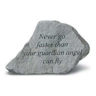 Never Go Faster Than Your Guardian Angel Garden Accent Stone   Garden & Memorial Stones