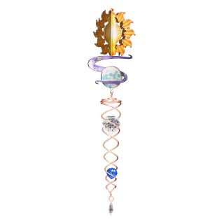 Iron Stop Whimsical Sun & Moon Crystal Twister   WHS310 2M   Wind Spinners