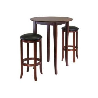 Winsome Fiona 3 Piece Round Pub Table Set   Antique Walnut   Pub Tables