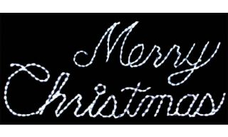 32 in. Outdoor LED White Merry Christmas Sign Lighted Display   300 Bulbs   Christmas Lights