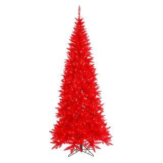 Vickerman Red Slim Fir Pre lit Christmas Tree   Christmas Trees