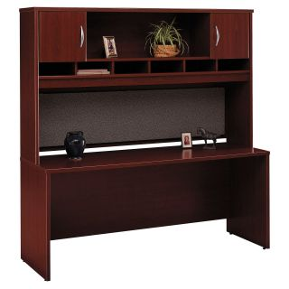 Bush Series C Credenza and 72 Inch 2 Door Hutch In Hansen Cherry   Computer Desks