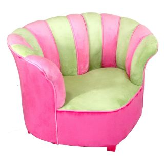 Harmony Kids Sweetheart Chair Minky   Green/Hot Pink   Specialty Chairs