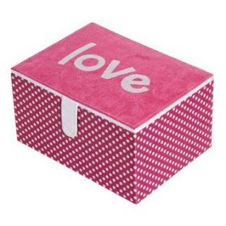 Mele Wendy Love Jewelry Box with Lift Out Tray   Hot Pink   4.75W x 6.25H in.   Womens Jewelry Boxes