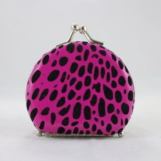 Round Leopard Print Jewelry Travel Case   Hot Pink   2.6L x 2.2W in.   Womens Jewelry Boxes