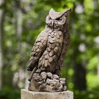 Campania International Large Horned Owl Cast Stone Garden Statue   Garden Statues