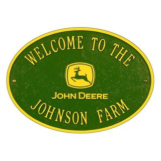 Whitehall John Deere Oval 2 line Standard Wall Plaque   Address Plaques
