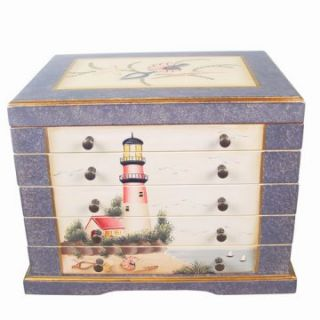 Teamson Design Waterfront Wooden Jewelry Box   15W x 11.25H in.   Womens Jewelry Boxes