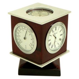 Bey Berk International Revolving Cube Weather Station & Compass Desktop Clock   Desktop Clocks