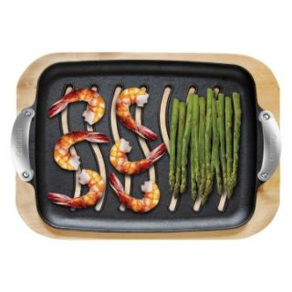 Cuisinart Pre Seasoned Cast Iron Grilling Platter Set with Birch Serving Tray   Grill Accessories