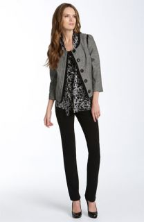 Elie Tahari Exclusive for  Tessa Tweed Jacket, Priscilla Sleeveless Print Blouse & Nova Skinny Ponte Knit Pants