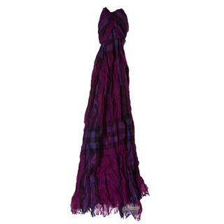 Burberry Purple Giant Check Wool/ Cashmere Crinkle Scarf Burberry Designer Scarves & Wraps