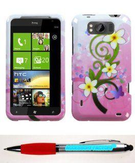 Accessory Factory(TM) Bundle (Phone Case, 2in1 Stylus Point Pen) HTC X310a (TITAN) Tropical Blumen Telefon Schutz Abdeckung Elektronik