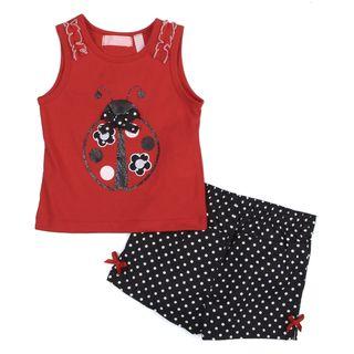 Toddler Girl's Red Ladybug Top and Polka Dot Short Set Girls' Sets