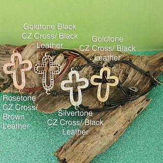 Handcrafted Metal Sideways CZ Cross and Leather Bracelet Bracelets