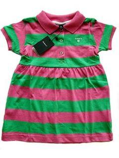 Gant M�dchen T Shirt Kleid, kurzer Arm, Blockstreifen in gr�n/rosa, Gr. 74: Bekleidung