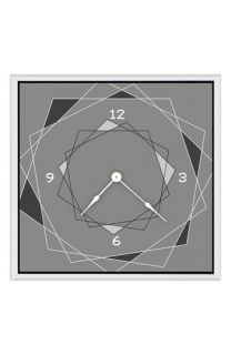 Green Leaf Art Gray Squares Clock