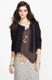 Free People Femme Fatale Embroidered Moto Jacket